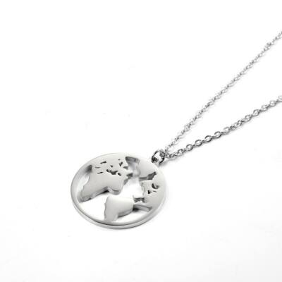 Nemesacél földgömb medál nyaklánccal, ezüst színű