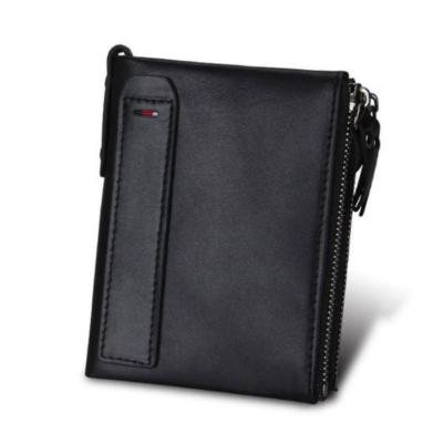 Maria King valódi bőr luxus uniszex pénztárca (12,1x9,4 cm), fekete