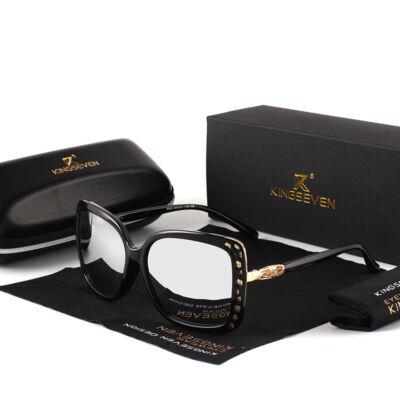 KINGSEVEN díva dizájn női napszemüveg, ezüst tükörlencsével