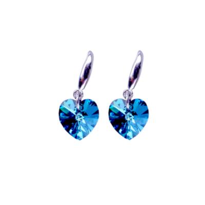 Maria King ezüstözött kék kristály szív fülbevaló