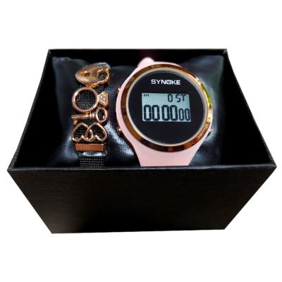 SYNOKE szilikon szíjas kronográfos, digitális (LED-es) óra + Pandora reflexions stílusú karkötő + Óradoboz - ajándékszett