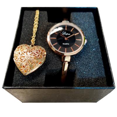 Lvpai vékony rose gold női karóra + Szív alakú képtartó medál és lánc + Óradoboz - ajándékszett