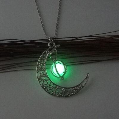 Sötétben lumineszkáló félhold nyaklánc, zöld
