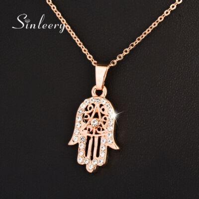 Kristályokkal kirakott Fatima keze medál nyaklánccal,  rose gold színben