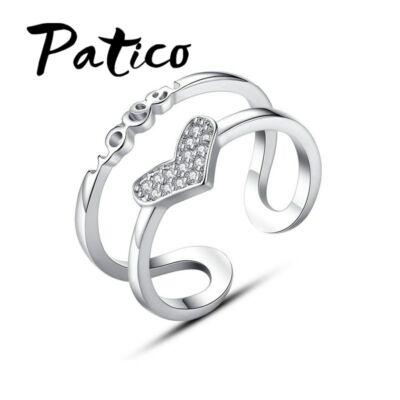 From Maria King Ezüstözött szív motívumos gyűrű, állítható méretű
