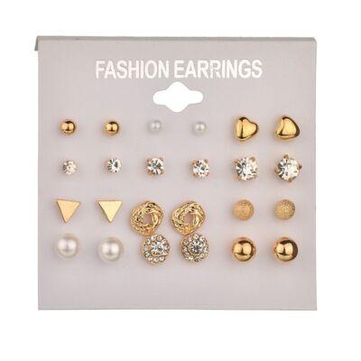 12 pár pici fülbevaló, arany színű