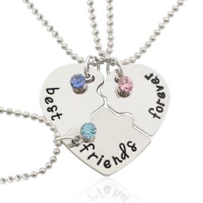 Legjobb barátok örökre - hármas nyaklánc, szív puzzle