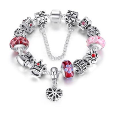 BAMOER ezüstözött Pandora stílusú Charm karkötő, szív és virág motívumokkal, piros-rózsaszín - 18 cm