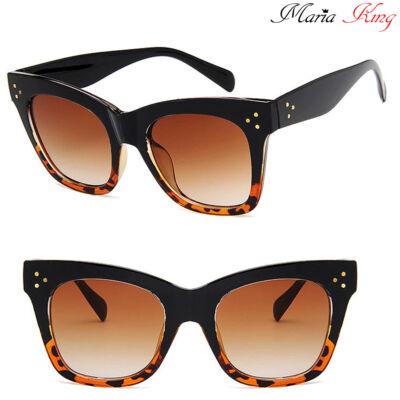 Retro vastag keretes barna macskaszem napszemüveg, alján leopárd mintával