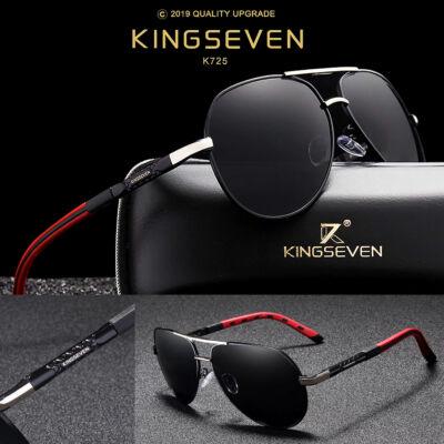 KINGSEVEN vintage pilóta napszemüveg, polarizált lencse, ezüst-fekete-piros kerettel (videóbemutatóval)