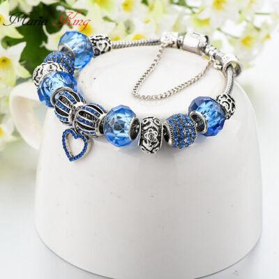 Pandora stílusú Ezüstözött Charm karkötő, szív és virág motívumokkal, kék
