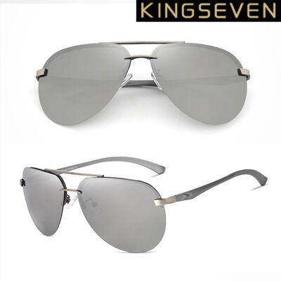 KINGSEVEN ezüst tükörlencsés férfi pilóta napszemüveg ezüstszürke kerettel