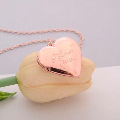 'I love you' feliratú szív alakú képtartó függő medál nyaklánccal, rose gold