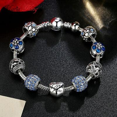 BAMOER ezüstözött Pandora stílusú Charm karkötő, szív és virág motívumokkal, kék, 21 cm