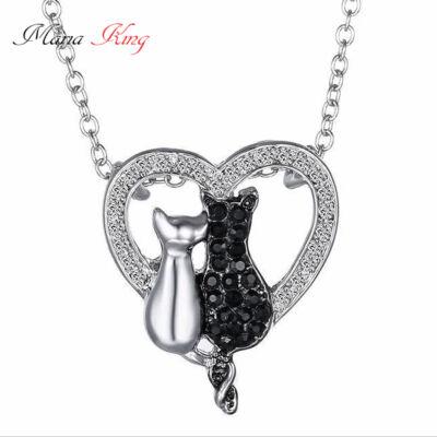 Két cica egy szívben nyaklánc, ezüst-fekete, kristályokkal
