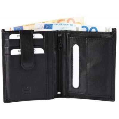 Valódi bőr Akzent uniszex pénztárca, fekete