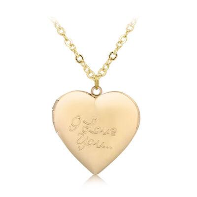 'I love you' feliratú képtartó függő szív medál nyaklánccal, arany
