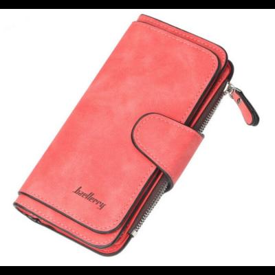 Dizájn bőr divat női pénztárca, piros (18,8x10,5 cm)