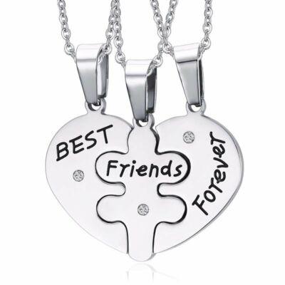Puzzle szív 'Best friends - Örökké barátok' 3 db medál és lánc, prémium