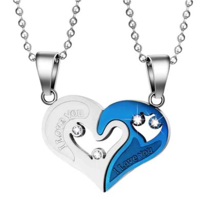 'I love you' páros nyaklánc, kék-ezüst