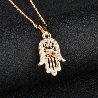 Kristályokkal kirakott Fatima keze medál nyaklánccal, arany színben