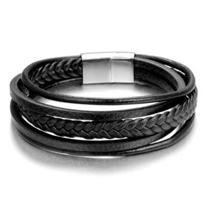 Valódi bőr fekete többrétegű férfi karkötő mágnes csattal
