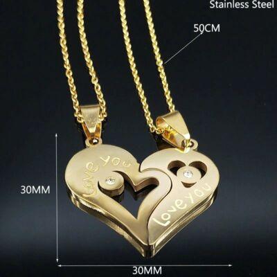'I love you' (Szeretlek) dupla lánc és medál pároknak, prémium - arany színű - dobozzal