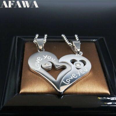 'I love you' nemesacél páros nyaklánc, ezüst színű - dobozzal