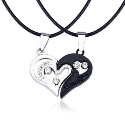 'I love you' páros medál fekete bőr nyaklánccal