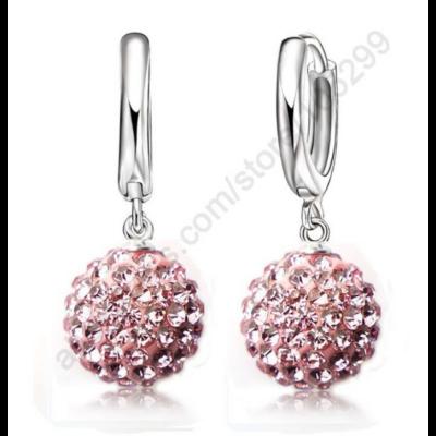 From Maria King Ezüstözött kristálygömb fülbevaló, rózsaszín