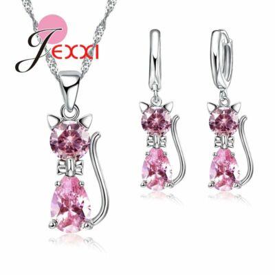 Ezüstözött rózsaszín cirkónium cica nyaklánc és fülbevaló szett