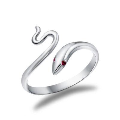 Piros szemű kígyó állítható méretű gyűrű