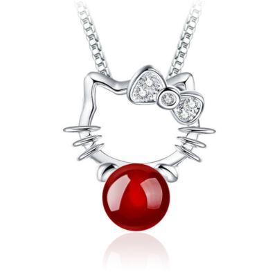 Piros agate köves cicás medál nyaklánc nélkül, ezüstözött