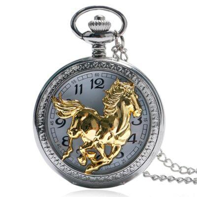 Elegáns ezüstszínű nemesacél zsebóra lánccal (arany lovas)