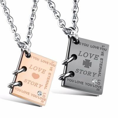 Love Story 2 db könyvecske 2 db nyaklánccal, aranyozott - gravírozható, ajándékdobozzal