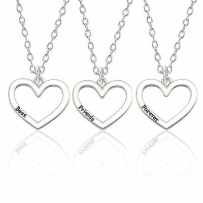 Legjobb barátok örökké -  hármas nyaklánc szív medállal