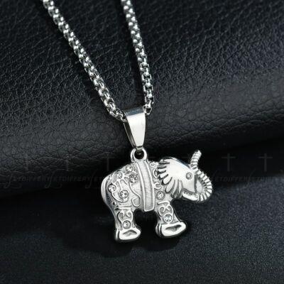 316L nemesacél elefánt medálos nyaklánc, ezüst színű