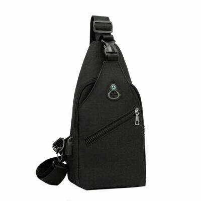 Kicsi, kényelmes uniszex vászon hátizsák (26x6x16 cm), fekete