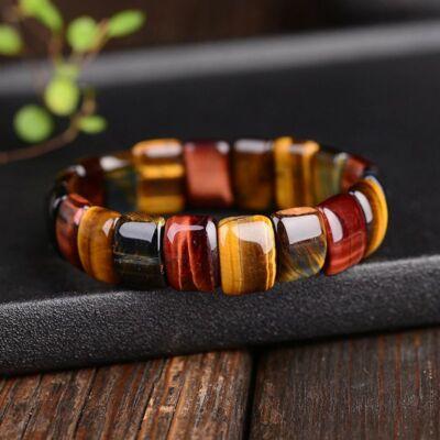 Természetes tigrisszem színes kő karkötő, elasztikus
