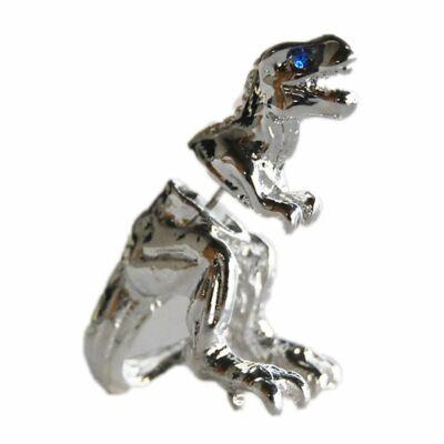 Brutálmenő T-Rex beszúrós fülbevaló, ezüst színű