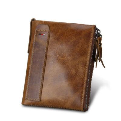 Maria King valódi bőr luxus uniszex pénztárca (12,1x9,4 cm), kávébarna