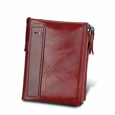 Maria King valódi bőr luxus uniszex pénztárca, pirosas bordó