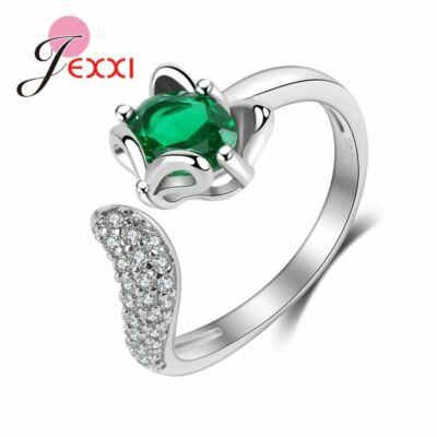 Ezüstözött állítható méretű róka gyűrű zöld kristállyal