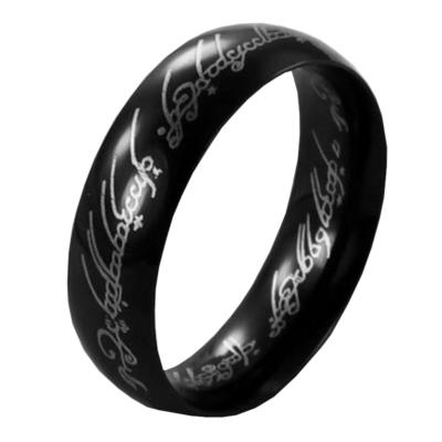 Gyűrűk ura jellegű gyűrű fekete nemesacél gyűrű, több méretben (Egy gyűrű mind fölött)