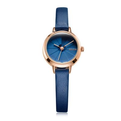 JULIUS top márkás kék bőrszíjas 3D számlapos női karóra - csepp- és ütésálló