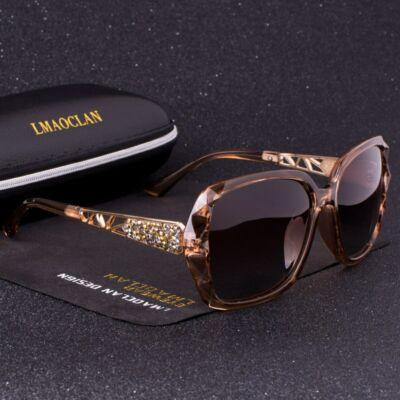 Divatos női napszemüveg, polarizált lencsével, barna