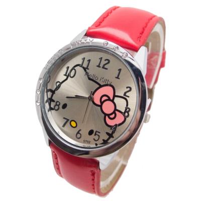 Hello Kitty cseppálló karóra kis kövekkel, piros szíjjal