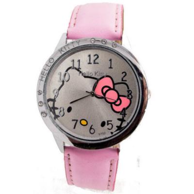 Hello Kitty cseppálló karóra kis kövekkel, rózsaszín szíjjal
