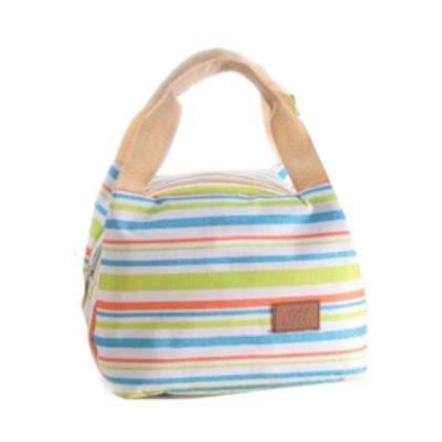 Szines-csíkos hőtartó táska kis méretben, zöld-kék-narancs