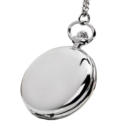 Ezüst színű klasszikus nemesacél zsebóra lánccal